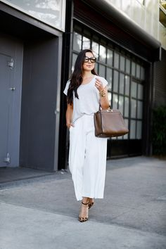 White silk trousers.