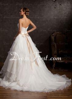 Balklänning Hjärtformad Kapell Tåg Organzapåse Bröllopsklänning med Rufsar Spets Skärpband Paljetter (002015163)