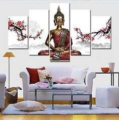 The World History Thai Buddha Statue 5 Pcs Canvas Wall Painting Art Modern Home Decoration Wall Art Picture To Buddha GVS0112BBB