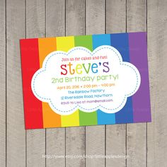 Rainbow Invitation / Rainbow Birthday invitation / Rainbow Party Invitation / Rainbow Invite / Printable DIY via Etsy Rainbow Birthday Invitations, Rainbow Birthday Party, Rainbow Theme, Diy Birthday, 2nd Birthday Parties, Birthday Ideas, Birthday Packages, Rainbow Parties, Personalized Invitations
