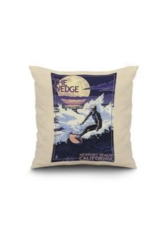Newport Beach, California - Surfing The Wedge - Lantern Press Artwork (16x16 Spun Polyester Pillow, White Border), Multi