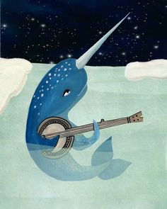 Narwhals Aquarelle - Narwhal playing music - Banjo-  8x10 Matted Print. $24.00, via Etsy.