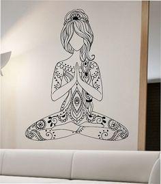 Meditating Yoga Wall Decal Flower namaste Vinyl Sticker Art Decor Bedroom Design Mural flower Buddha namaste yoga living room