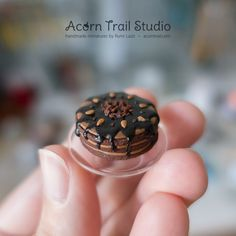1:12 Realistic dollhouse miniature chocolate cake. by @acorntrail