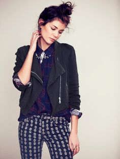 Free People Washed Moto Jacket at Free People Clothing Boutique