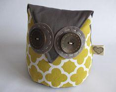 IHeartStitchingSA on Etsy Owl doorstop White Leaf, Blue And White, Owl Doorstop, Geometric Owl, Fox Pattern, Owl Patterns, Door Stop, Cute Designs, Sunglasses Case