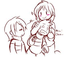 Frisk, Chara, and Asriel by sketchit