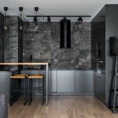 Кухня в стиле лофт | Дизайн кухни | Барный столик из дерева |  Современная кухня | Кухня в темных тонах | Барные стулья в стиле лофт   Kitchen Pantry, Loft, Interior Design, Architecture, Table, Furniture, Home Decor, Island, Houses