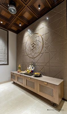 A Deluxe Lodging - Apartment Interiors Pooja Room Door Design, Ceiling Design Living Room, Foyer Design, Living Room Designs, House Design, Corridor Design, Wall Design, Design Design, Apartment Interior
