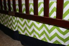 Lime Chevron with Navy Border Straight Crib by DesignsbyChristyS, $85.00