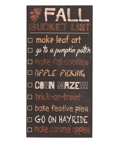 'Fall Bucket List' Wall Sign