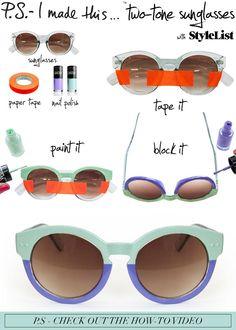 """Las gafas de sol bicolor son un """"must"""" este año. Desde aquí os proponemos una manera muy sencilla de haceros unas"""