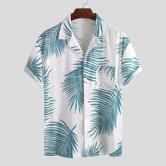 Charmkpr Men Palm Leaves Printed Cotton Hawaiian Beach Shirts The Effective Pictures We Offer You About Beach Outfit ideas A quality picture can tell you many things. You can find the most beauti Mens Beach Shirts, Mens Printed Shirts, Loose Shirts, Hawaiian Shirts For Men, Summer Outfits Men, Cool Outfits, Casual Outfits, Beach Outfits, Vacation Outfits