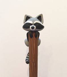 Polymer Clay Raccoon Ball Point Pen