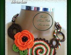Márcia Prado ♥ Arte com Amor ♥: Colar Caracol Marrom e laranja