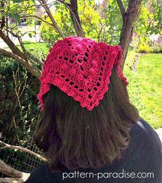 Ravelry: Bobble Kerchief pattern by Maria Bittner Cute Crochet, Crochet Crafts, Crochet Hooks, Crochet Projects, Knit Crochet, Crochet Hair Accessories, Crochet Hair Styles, Crochet Designs, Crochet Patterns