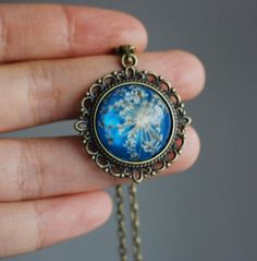 Pressed Flower Necklace 1 Blue Resin Jewelry Queen Anne's Lace Blue Victorian Vintage Shabby Chic. $28.00, via Etsy.