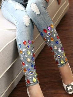 New spring women sparkling diamond jeans with hole handmade rhinestones women ripped denim jeans pants trousers (China (Mainland)) Diy Jeans, Cheap Jeans, Jeans Denim, Ripped Denim, Jeans Pants, Jeans Refashion, Trousers, Embellished Jeans, Embroidered Jeans