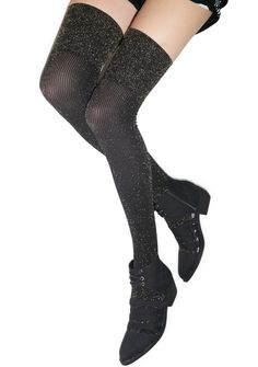 Pretty Polly Sparkle Rib Over the Knee Socks | Dolls Kill