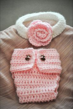 Fashionable PREEMIE DIAPER COVER & Headband by Babymommaboutique