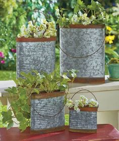 Set of 4 Galvanized Metal Containers Vintage Rustic Planters