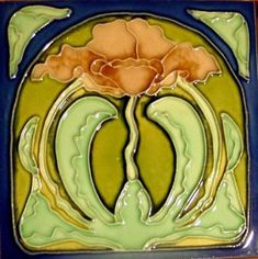Art Nouveau Majolica - Made in France - 1890 to 1910 - Ceramic Tile