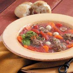 """Meatball Soup Recipe -""""It's just like a meal in a bowl...or for heartier appetites, serve it with a sandwich,"""" says Sue Miller of Walworth, Wisconsin. """"It's great for chilly days."""""""