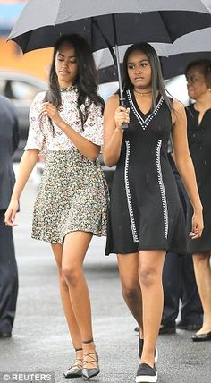Chic shoe game: Malia paired her ASOS dress with pointed-toe flats, while Sasha paired her LBD with slip-on sneakers