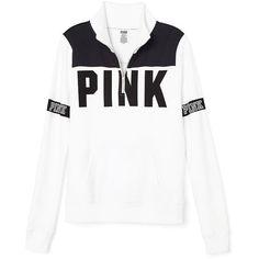Hoodies and Sweatshirts - PINK ($90) ❤ liked on Polyvore featuring tops, hoodies, sweatshirts, white sweatshirts, crew neck sweatshirts, hoodie sweatshirts, white crewneck sweatshirt and pink sweatshirts