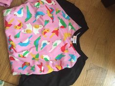 NWT LuLaRoe RANDY Baseball TEE Large Black With Pink Bird Print #LuLaRoe #KnitTop #Casual