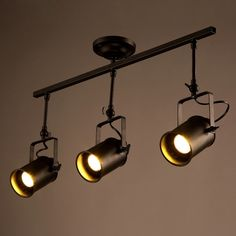 Industrial Loft Black Monorail Spot Light LED Semi Flush Mount - Semi Flush Lights - Ceiling Lights - Lighting