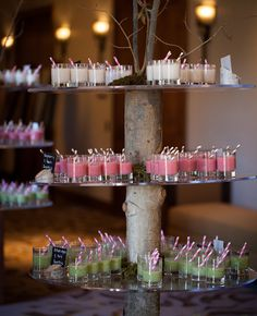 Guests started the morning with an assortment of fresh fruit smoothie shooters, made by the resort and presented on. Wedding Reception Food, Wedding Art, Trendy Wedding, Wedding Ideas, Garden Wedding, Dining Room Sets, Catering Display, Catering Food, Catering Ideas