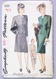 1940s Suit Pattern // Women's Skirt & Jacket Classic 40s Suit // Vintage Sewing Pattern Simplicity 1223 Bust 36 di redoredux2 su Etsy https://www.etsy.com/it/listing/207569680/1940s-suit-pattern-womens-skirt-jacket