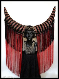 MADE TO ORDER Large Horn Tassel Headdress