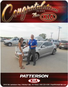 Congratulations to Stefanie Perez on her new 2014 Kia Optima! - From Ted Turner at Patterson Kia
