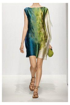 Bottega Veneta Printed silk asymmetric tunic dress $1500