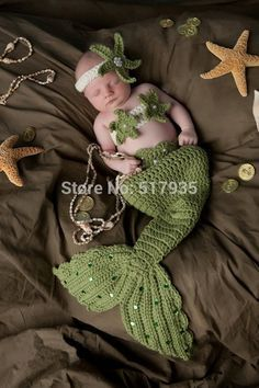 Find More Clothing Sets Information about free shipping,3pcs Newborn Baby Infant Grass green Little Mermaid set Knit Crochet Costume Photo Props size 0 6month,High Quality baby you,China photo props party supplies Suppliers, Cheap photo props backdrops from  crochet baby hats on Aliexpress.com