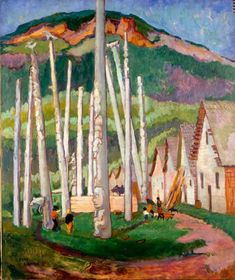 """""""Kispiox Village,"""" Emily Carr, oil on canvas, x Vancouver Art Gallery. Tom Thomson, Canadian Painters, Canadian Artists, Emily Carr Paintings, Vancouver Art Gallery, Group Of Seven, Impressionist Paintings, Art Moderne, Native American Art"""