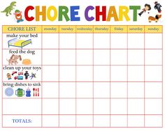 chore charts for multiple children | Chore Chart - The Paro Post