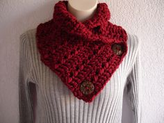Cranberry Dark Red Chunky Crochet Cowl Neckwarmer Scarf with Buttons. $20.00, via Etsy.