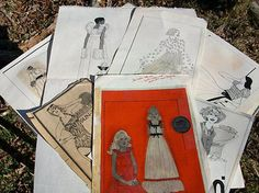 1970s-Fashion-Ad-Art-Student-Sketches-Color-Ads-Paper-Collectibles