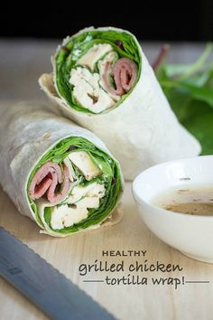 Easy grilled chicken wrap with turkey bacon and a fresh vinaigrette