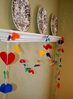Valentine Bunting - Rainbow Hearts