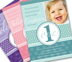First Birthday Invitation Pretty Dots Custom Photo Printable Invitation - 1 Year Old Girl or Boy - Turqouise, Pink, Purple or Custom Color. $12.00, via Etsy.