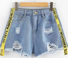 Shop Ribbon Letter Ripped Frayed Hem Denim Shorts at ROMWE, discover more fashion styles online. Cute Girl Outfits, Cute Casual Outfits, Summer Outfits, Girls Fashion Clothes, Teen Fashion Outfits, Sweater And Shorts, Denim Shorts, Plus Size Stretch Jeans, Looks Adidas