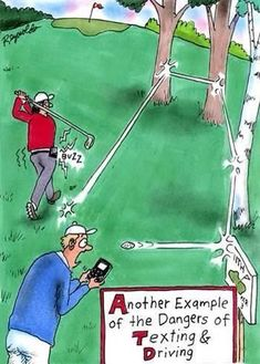 Another example of the dangers of Texting & Driving!  Rock Bottom Golf #rockbottomgolf