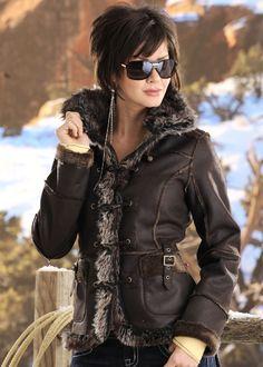 Powder River Brown Faux Fur Ladies Jacket