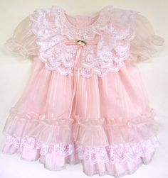 Toddler Girls Vintage Pink Dress, Chiffon Pink Dress with Ruffles and Lace, Ages 18 month