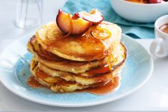 Take+a+breakfast+favourite+to+new+heights+with+this+pancake+and+orange+maple+plum+creation.+Dig+in!