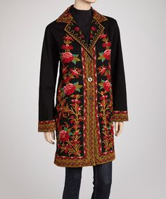 Take a look at this Black & Red Exotic Floral Embroidered Coat by PAPARAZZI on #zulily today!